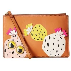 Fossil Leather Tan Small RFID Wristlet Pouch